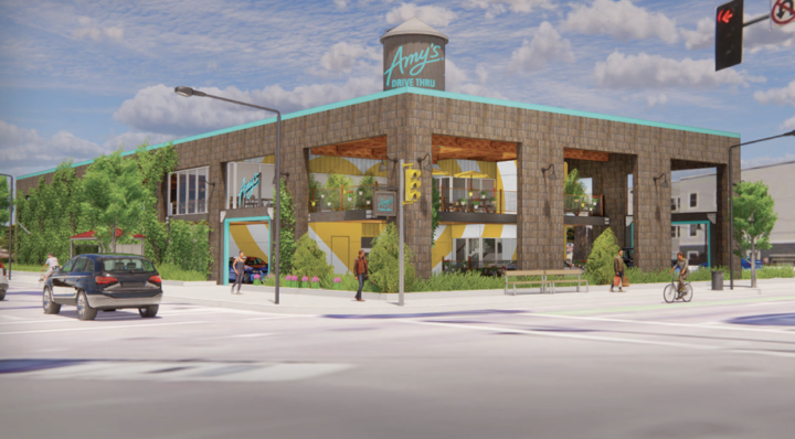 A rendering of the potential Amy's Drive Thru location at the corner of Telegraph Avenue and 40th Street. The company is considering this location, based on feedback from the community. Photo: Temescal Telegraph BID
