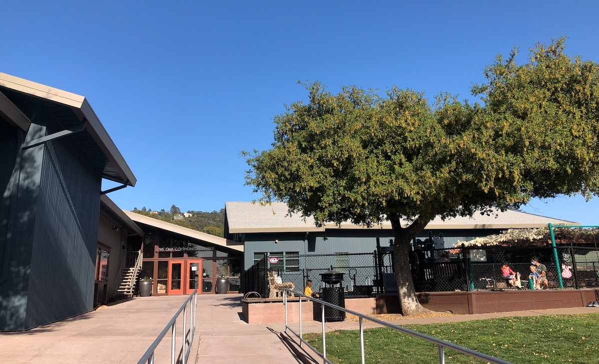 Front of Live Oak Community Center on day it reopened after renovations