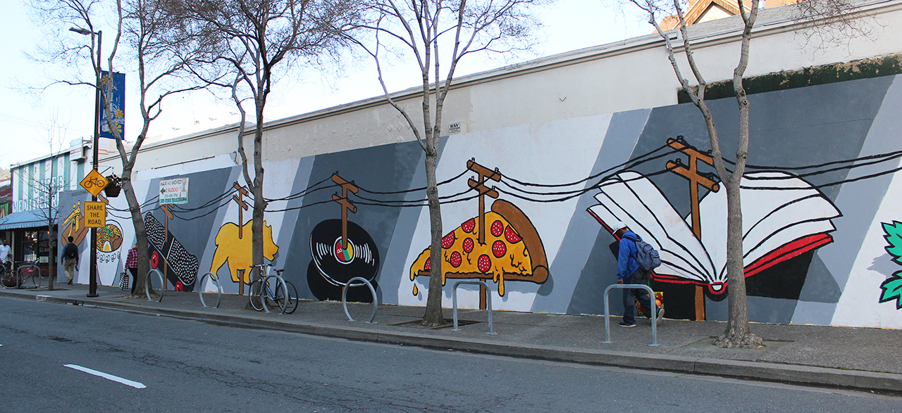 Mural by Nigel Sussman on construction hoarding on Telegraph Avenue