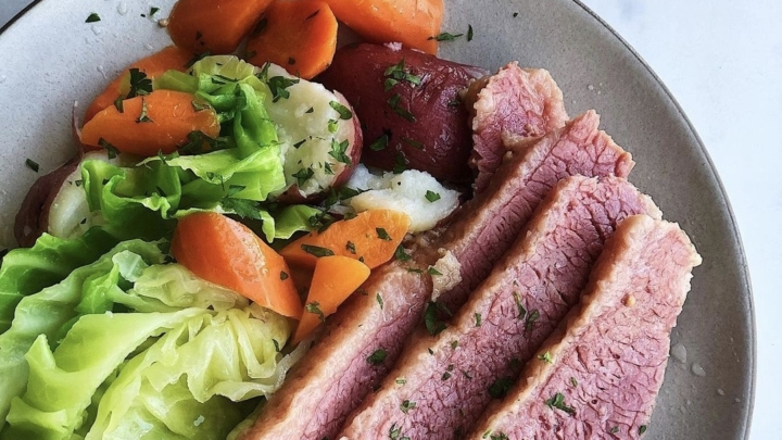Sequoia Diner's corned beef and cabbage plate is available for pickup today. Photo: Sequoia Diner