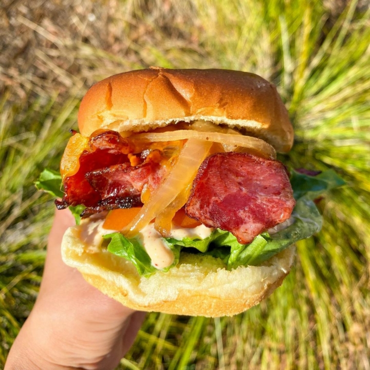 The owner of two East Bay BurgerIm locations reopened them as halal fast food restaurants called iniBurger. Everything on the menu, including the Notorious BLT featuring turkey bacon, seen here, is halal. Photo: iniBurger