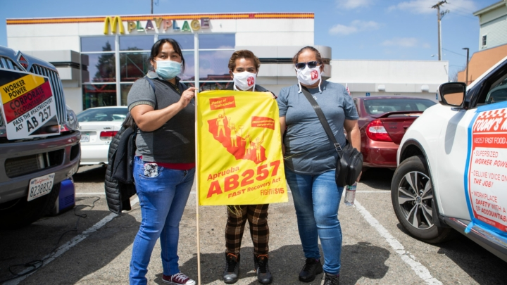 McDonald's employees rallied outside their workplace in Fruitvale on Tuesday, April 20, 2021.