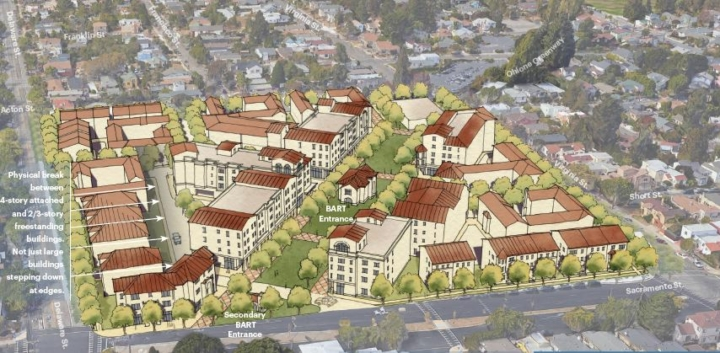 Rendering of housing on the North Berkeley BART station