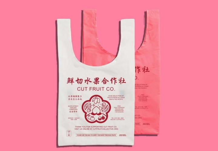 Save Our Chinatowns has rebranded as Cut Fruit Collective and is selling merch, like these reusable shopping bags, raise money for AAPI causes. Credit: Cut Fruit Collective/Instagram