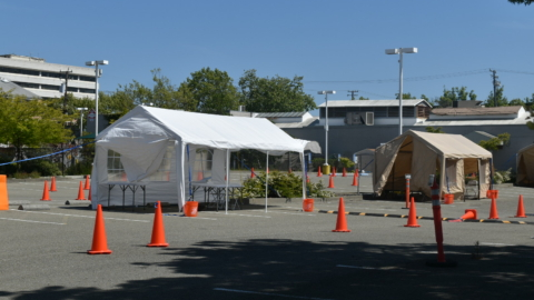 tents at the West Berkeley COVID-19 vaccine site