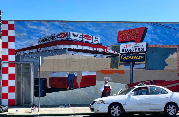 A new mural painted by artists from Oakland's Good Mother Gallery pays homage to the Smokehouse's retro style. Credit: Sarah Han