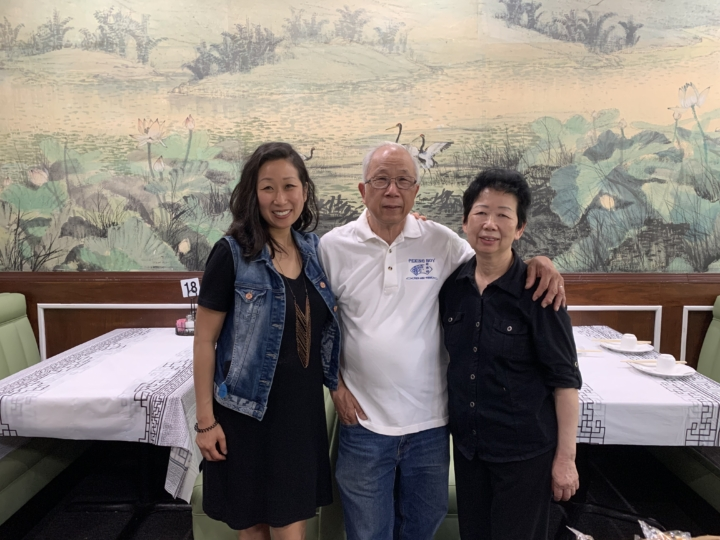 Owners Sheke and Connie Chow with daughter Goldie at Creek House Dim Sum Restaurant. Credit: Anna Mindess