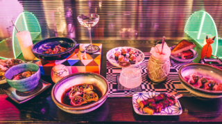 Spread of dishes and drinks from Viridian.